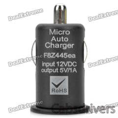 Mini USB 2.0 Car Cigarette Powered Charger for Iphone / Nokia / HTC - Black (12V) - 0