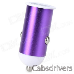 5V 1A Mini USB Car Charger w/ Micro USB Charging Cable for Samsung - Purple - 0