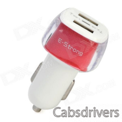 E-Strong Fashiona Dual USB Car Charger w/ Indicator for Cellphone / Tablet PC / MP3 / Camera - 0