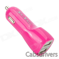 YI-YI Mini Dual USB 1 / 2.1A Car Cigarette Lighter Charger - Deep Pink (12~24V) - 0