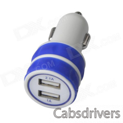 ES-03 Mini Dual USB Car Cigarette Lighter Charger for IPHONE / IPAD / IPOD - Blue + White (12~24V) - 0