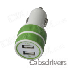ES-03 Mini Dual USB Car Cigarette Lighter Charger for IPHONE / IPAD / IPOD - Green + White (12~24V) - 0