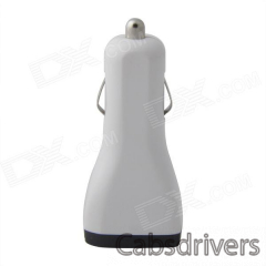 Portable Car Cigarette Powered Dual USB Charger for IPHONE / IPAD / IPOD - White (12~24V) - 0