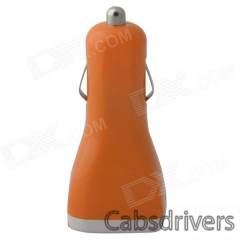 Portable Car Cigarette Powered Dual USB Charger for IPHONE / IPAD / IPOD - Orange (12~24V) - 0