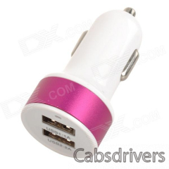 S-What Double USB Power Car Cigarette Lighter Plug Charging Adapter - White + Deep Pink (12~24V) - 0