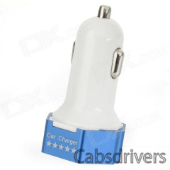 3.1A Dual USB Output Car Charger for IPHONE / IPOD / IPAD + More - White + Bright Blue - 0