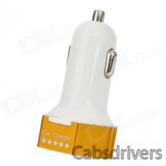 3.1A Dual USB Output Car Charger for IPHONE / IPOD / IPAD + More - White + Golden - 0