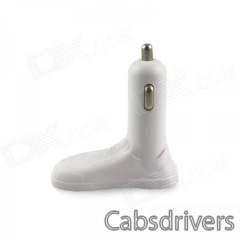 JANSE Foot Style 2.1A / 2.0A 15W Dual USB Car Charger for IPHONE + More - White - 0