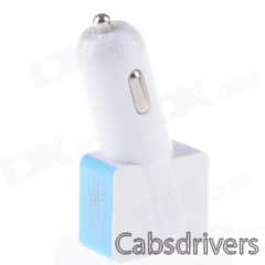 Compact T-shaped Dual USB Car Charger for IPHONE / IPAD / Samsung - White + Blue (12~24V) - 0