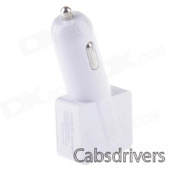 Compact T-shaped Dual USB Car Charger for IPHONE / IPAD / Samsung - White (12~24V) - 0