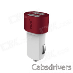 VOJO Bullet 3100mA Dual USB Port Car Charger w/ LED - White + Red - 0