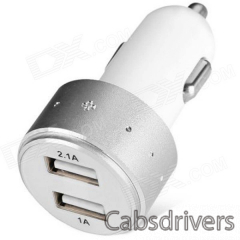 ES-06 Universal 5V 1A/2.1A 2-Port USB Car Charger for IPHONE / Cellphone + More - Silver + White - 0