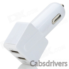 Universal Dual USB Car Cigarette Lighter Chager + USB 2.0 Data/Charging Cable - White (95cm) - 0