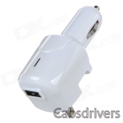 CJIP-03A USB US Plug Car / Home Use Charger Power Adapter for IPHONE / IPOD / Samsung + More - White - 0