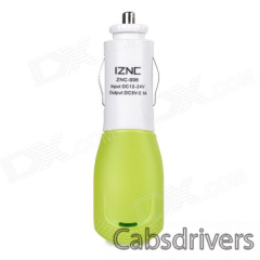iznc znc-006 Universal Quick Charging 2A USB Port Car Charger Power Adapter - White + Green - 0
