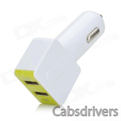 Universal Dual-USB Car Charger + USB Male to Micro USB Male Data Cable - White + Green - 0