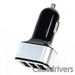 Universal 3 USB Ports Car Charger Adapter - Black + Silver - 0