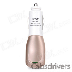 iznc znc-006 Universal Quick Charging 2A USB Port Car Charger Power Adapter - White + Gold - 0